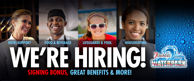 WE'RE HIRING! Hotel Support, Food & Beverage, Lifeguards & Pool, Housekeeping - SIGNING BONUS, GREAT BENEFITS & MORE!