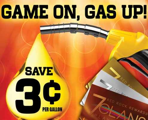 Game on, Gas up. Save 3 cent per gallon